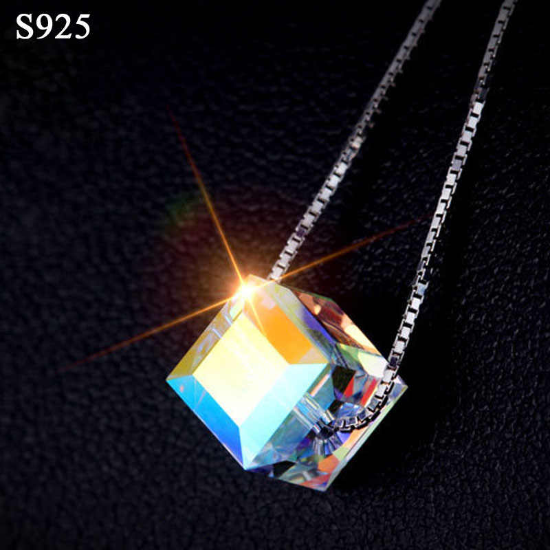Genuine Real Pure Solid 925 Sterling Silver Pendant Necklace for Women Chain Jewelry Glimmer Austrian Crystal Female Necklaces