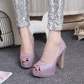 Mujeres elegantes bombas Peep Toe tacones de aguja bombas negro oro plata púrpura azul nobuck zapatos de cuero para mujer de tamaño ee.uu. 4-10.5