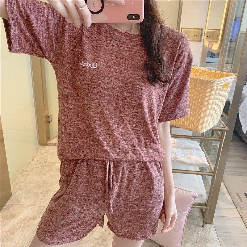 Newset 2019 WAVMIT Summer New Modal House Girl Series Sleepwear   Set   Solid Color Comfortable Simple Women   Pajamas     Set