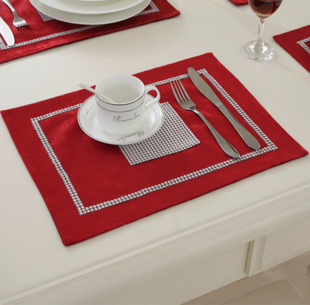 4pcslot 40x30cm modern luxury tableware placemats for wedding event christmas party decoration dinning table kitchen table mats - Kitchen Table Mats