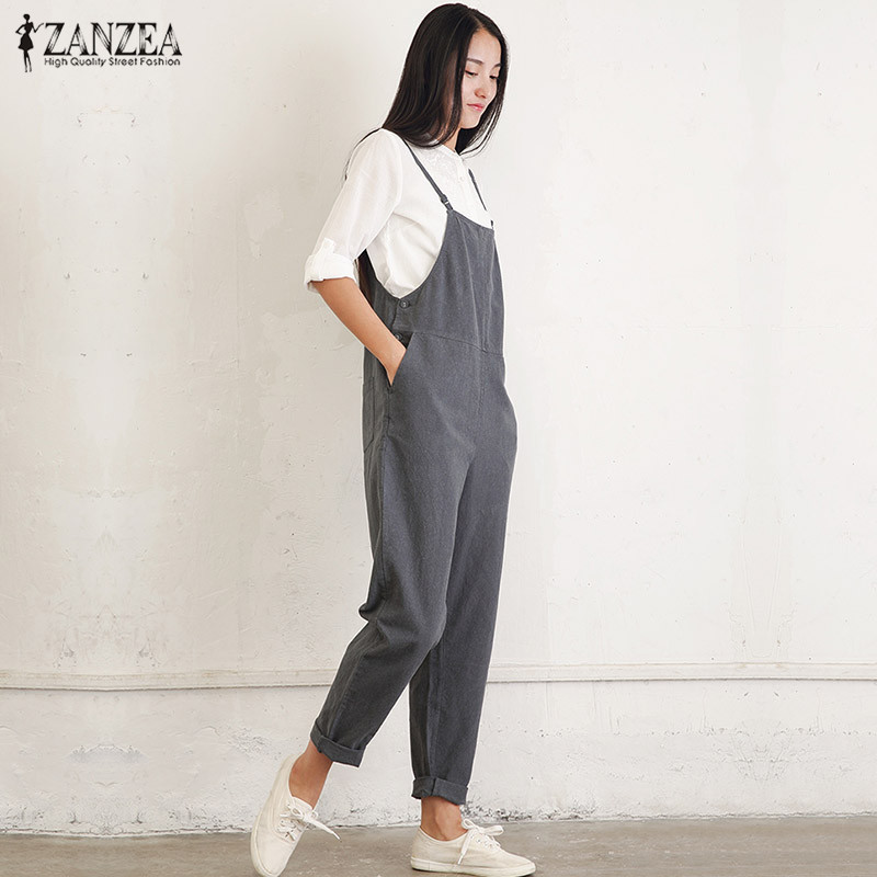 ZANZEA 2018 Rompers Womens Jumpsuits Casual Pockets Sleeveless Strap Solid Loose Jumpsuit Summer Playsuit Plus Size Ovearalls