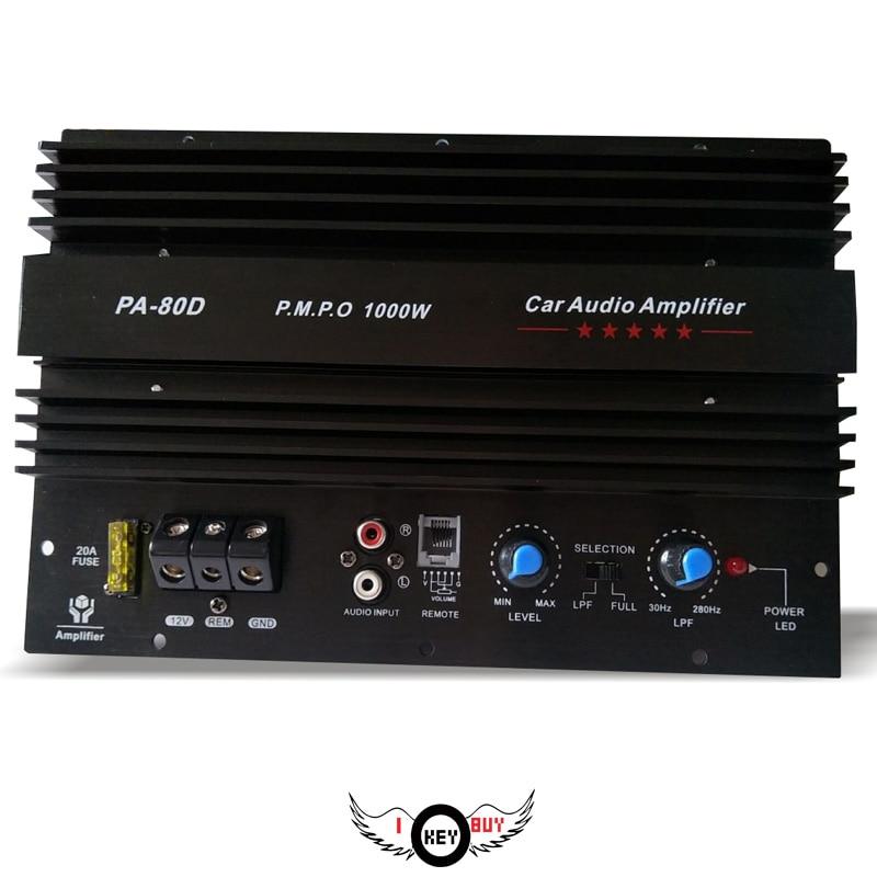 Thick Heat Amplifier Board 12V High Power 1000W Car Subwoofer Amplifier 4Ohm Aluminum Overvoltage Overload Short Circuit Black