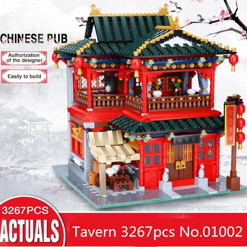 01002 3267Pcs  Creative Series Beautiful Tavern Set Children Education Building Blocks Bricks Boy Toys Model architecturea toy