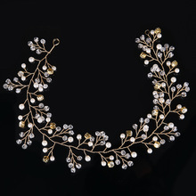 Dower me Fashion Handmade Gold Pearl Hair Jewelry Wedding Headband Bridal Hair Vine Accessories Rhinestone Women Headpiece