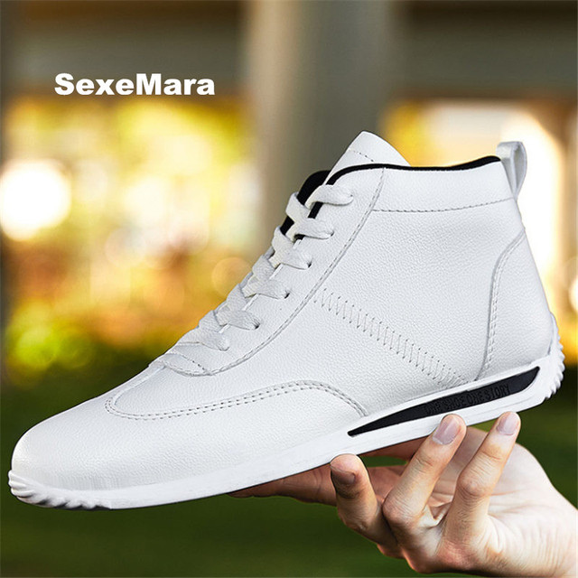 Men shoes Hot sale couples Leather Casual shoes Unisex Outdoors Flat shoes High Help calzado deportivo Students chaussure homme