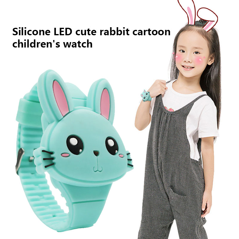 1 Pcs Kids LED Electronic Watch Silicone Band Cartoon Rabbit Flip Case Wrist Watch Lovely Gift TT@88