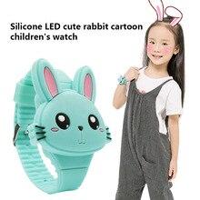 1 Pcs Kids LED Electronic Watch Silicone Band Cartoon Rabbit Flip Case Wrist Watch Lovely Gift TT@88
