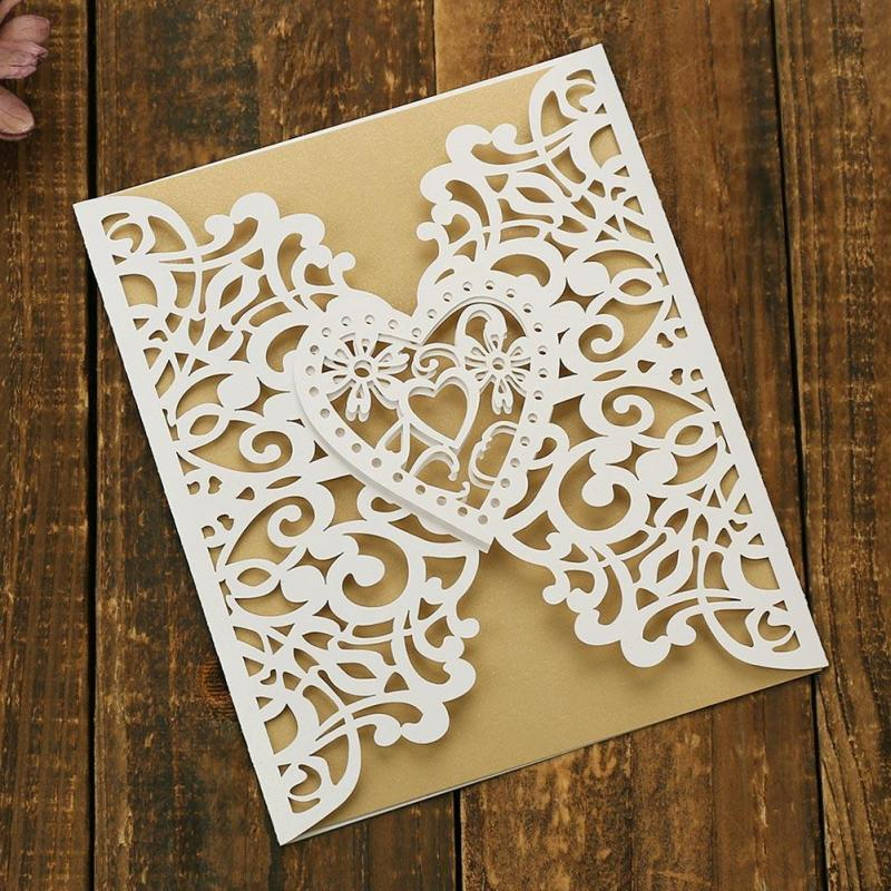 1pcs Luxury Laser Cut Wedding Invitations Cards With Envelope Hollow Engagement Marriage Invitation Card Birthday Party Card