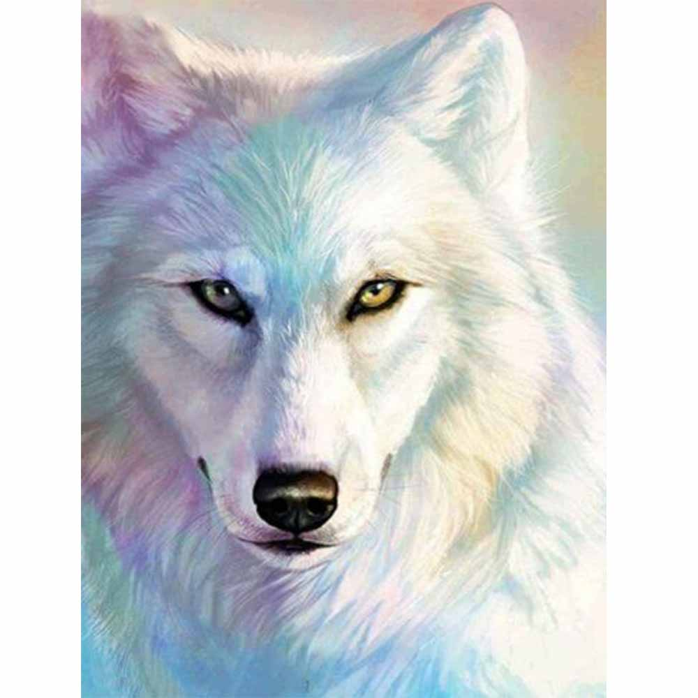 White wolf diy diamond painting full round white daimond embroidery