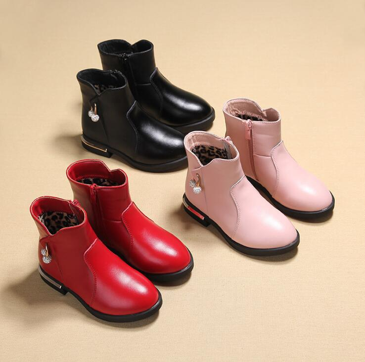 Girls boots 2018 autumn and winter new fashion shoes girls child plus velvet warm Martin boots childrens sweet Princess shoes ...