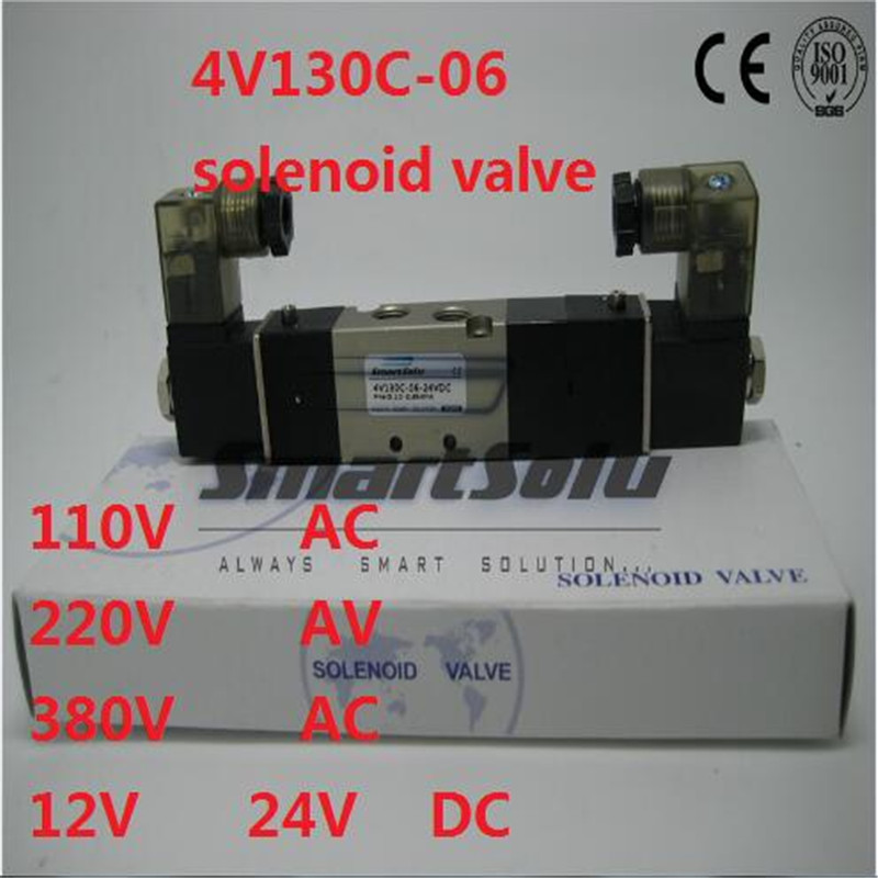 Free shipping solenoid air valve 4V130C-06 Double coil Port 1/8 BSP 110V AC 5/3 way control valve with Plug type red LED light free shipping dsg 02 3c4 rc 3 8 solenoid operated directional valve 220v ac terminal box type or plug in connector type