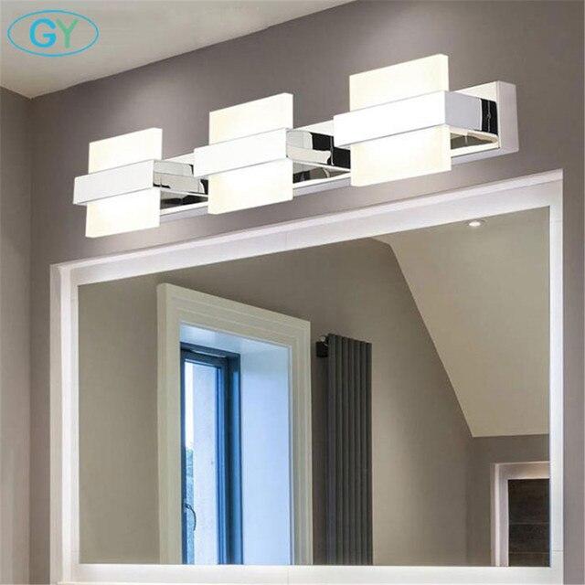 Nowoczesne oświetlenie LED lustro łazienka Home Decor kinkiet wodoodporna stal nierdzewna kinkiet 110V 220V makijaż Vanity oprawa światła