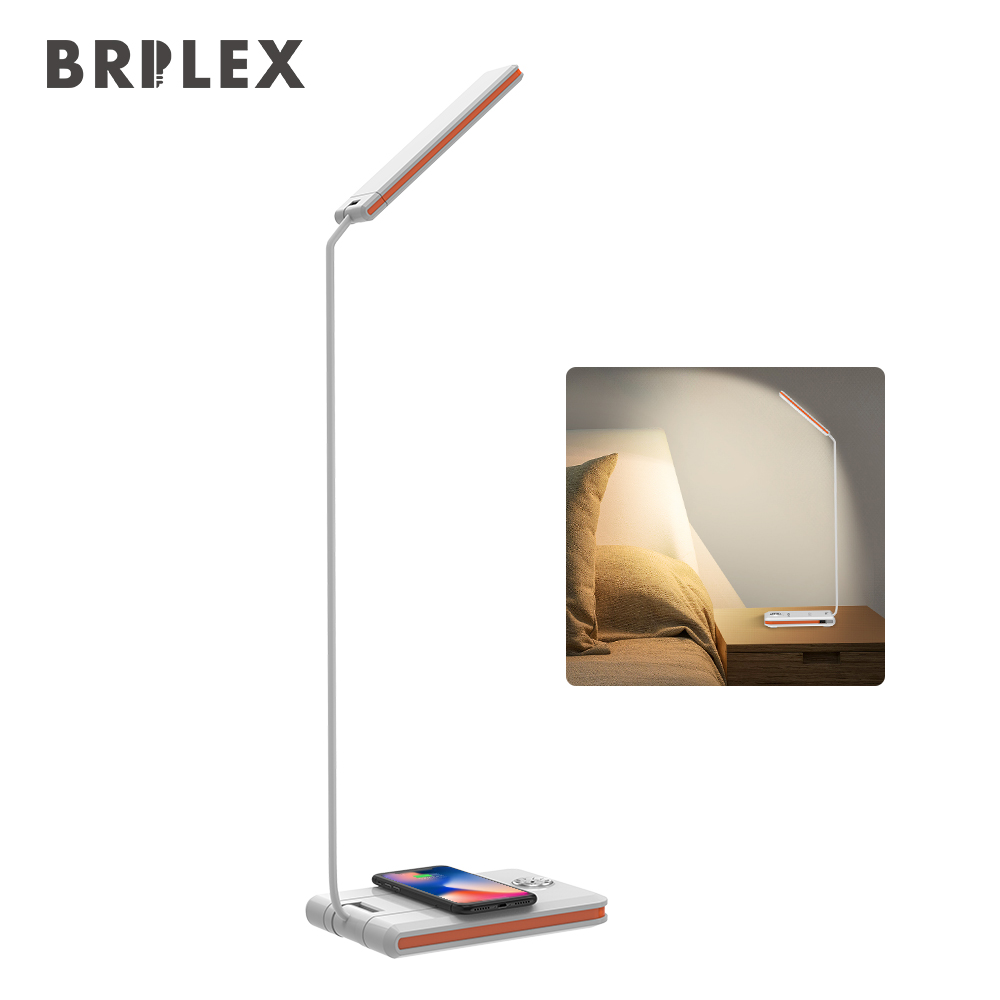 BRILEX White Desk Lamps Adjustable Brightness Table Lamps with QI Wireless Charger USB Charging Port for Smart Phone