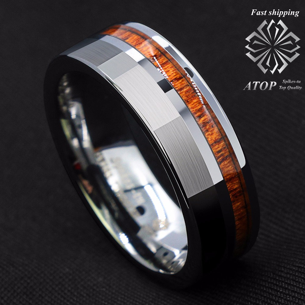 8mm Silver Brushed Tungsten Carbide Ring Off Center Koa Wood Wedding Band Ring ...