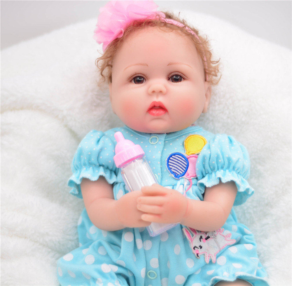 soft Non-toxic Bebe Reborn Girl Dolls Alive Silicone Sweet Princess Bonece Toys With blue clothes Kids Birthday Gift Child