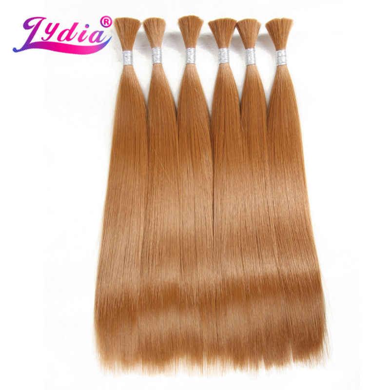 "Lidia para mujeres paquetes de pelo sintético recto 18 ""-26"" Color puro 27 # pelo a granel pestillo de ganchillo gancho extensión de pelo sintético"