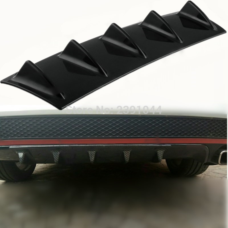 "23/"" x 6/"" Glossy Black ABS 5 Shark Fin Rear Valance Diffuser Bumper Lip Spoiler"