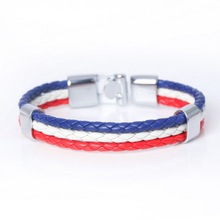 Canada Flag ! New Fashion Braided Surfer Leather Bracelets High Quality Bandage Friendship Charm Men Women Bracelets(China)