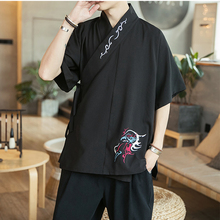 Chinese Style Shirts Men Summer Casual Vintage Mens Shirts Fashion Print Male Cotton Linen Male Clothing