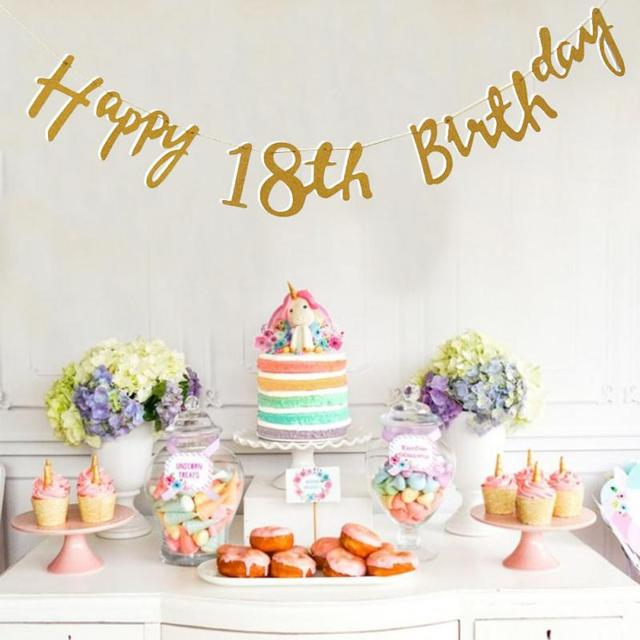 Gold Happy Birthday Bunting Banner 18th 21st 30th 40th Party Decoration With Rope