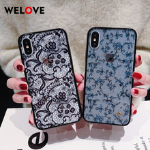 Vintage Lace Sexy cute Flower soft Phone Case for iPhone 6 7 8 6S Plus X XR XS Max girl Transparent smooth Protective Back Cover