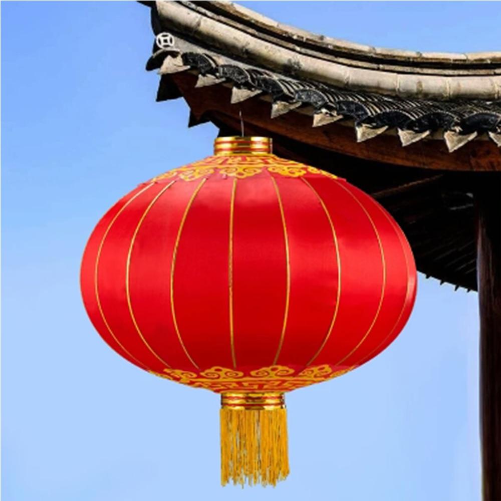 1PC Chinese New Year Lantern New Years Chinatown Red Festive Lantern Balcony Outdoor Waterproof Wedding Custom Silk