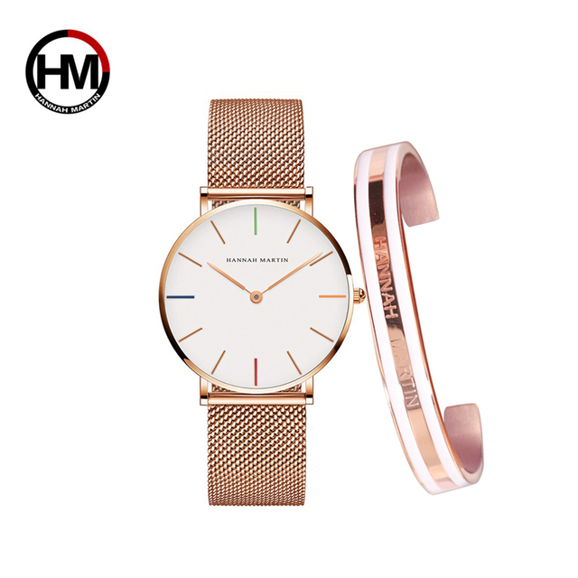 Creative Design Waterproof Rose Gold watch and bangle 3