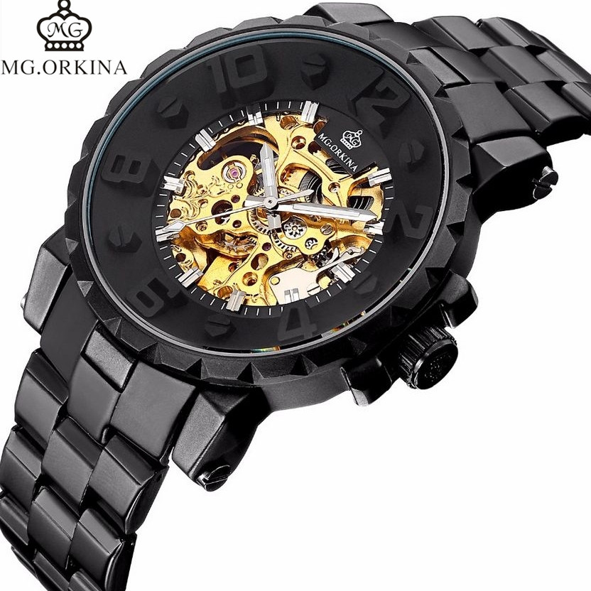 MG.Orkina Wrisitwatches Mens Skeleton Auto Mechanical Watch Gift Box Free Ship