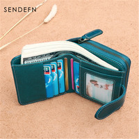 SENDEFN Explosion Women's Wallet Korean Leather Women's Wallet Short Buckle Cute Student Wallet Small Coin Purse