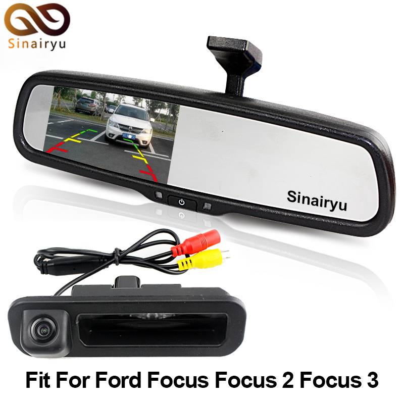 Sinairyu Vehicle Rearview Camera Car Rear Camera For Ford Focus Mondeo Max Fiesta Explorer With Car Rear View Mirror Monitor ouzhi for ford focus 2 3 mondeo fiesta f150 orange brown brand designer luxury pu leather front