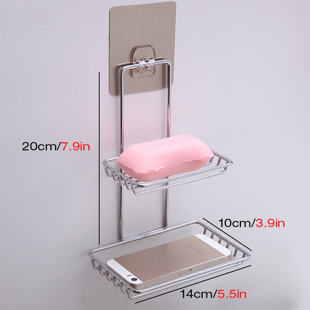 Self Adhesive Stainless Steel Soap Dish Storage Holder Bathroom Kitchen Wall  Mount Sponge Draining Hanger Towel Hooks