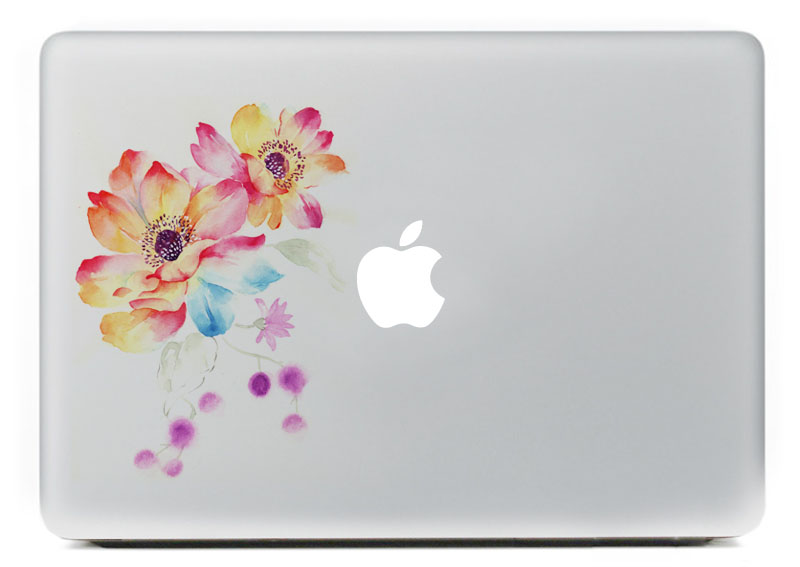 Watercolor flower Vinyl Decal Sticker for DIY Macbook Pro / Air 11 13 15 Inch Laptop Case Cover Sticker