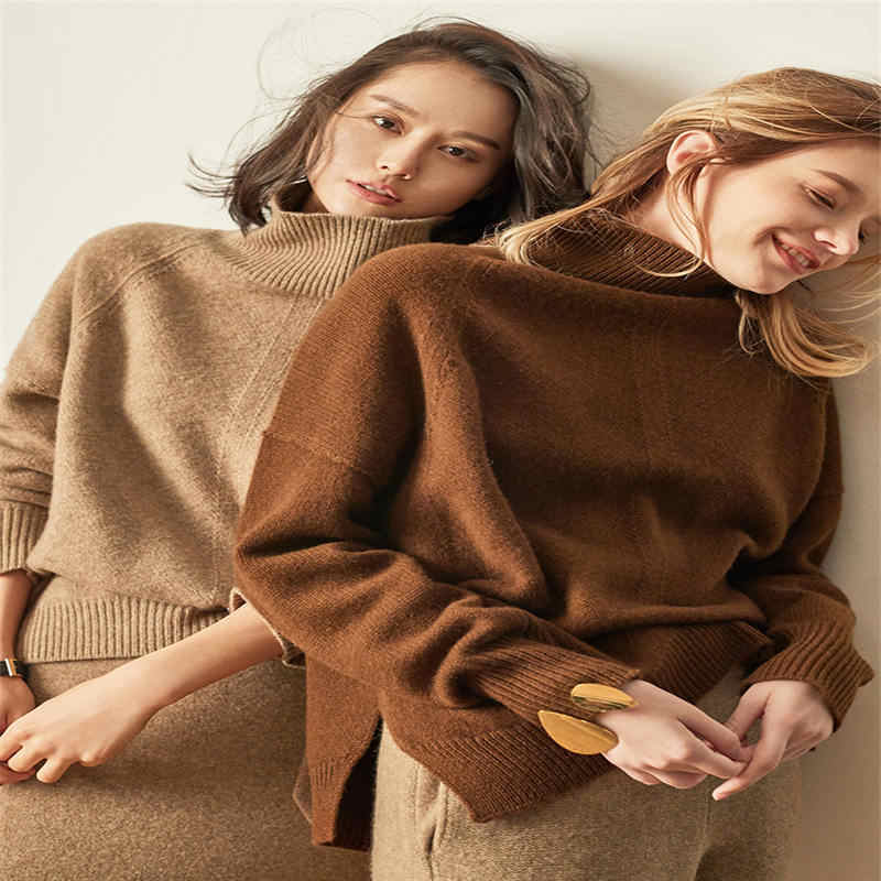 European and American fashion cashmere sweater women's head loose high collar sweater thickening wild wool knit bottoming shirt