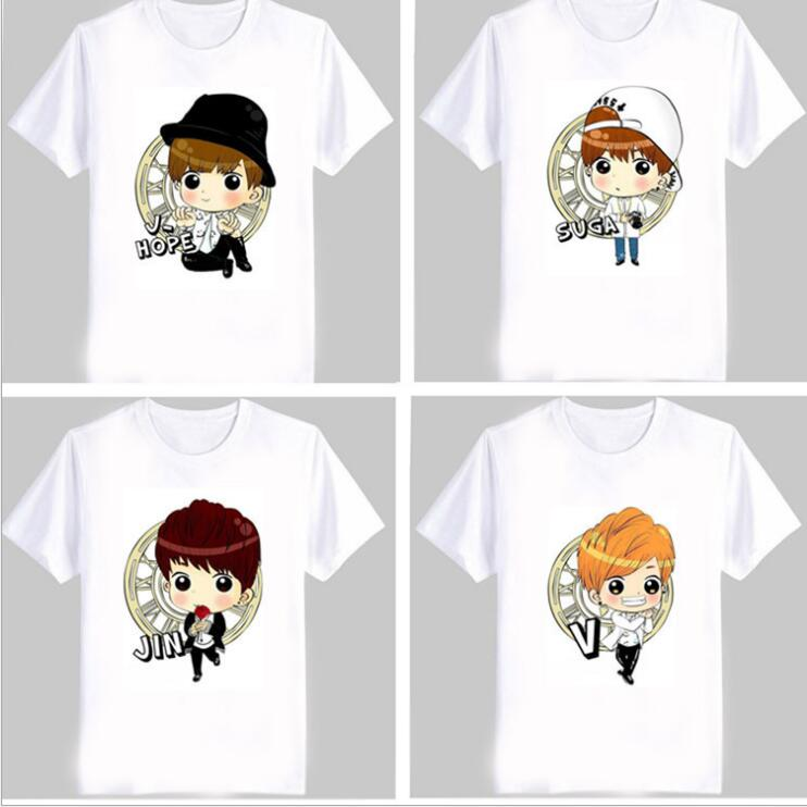 2018 new kpop bts The same paragraph Cartoon character Short-sleeved T-shirt Bangtan Boys Q version of the same short-sleeved t-