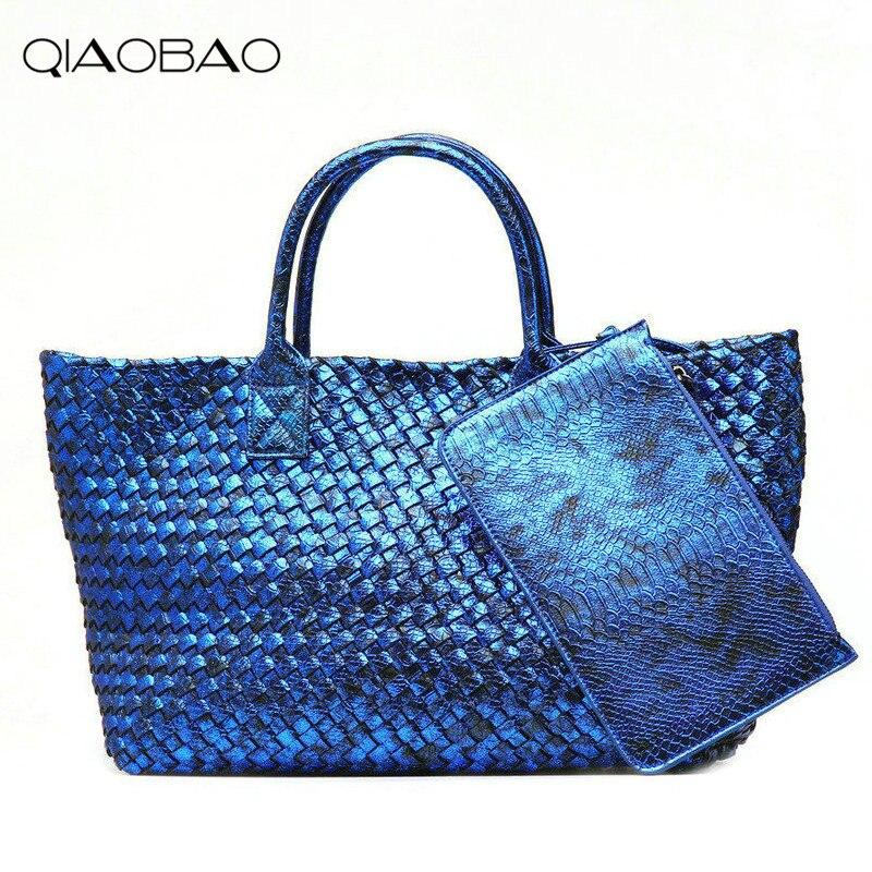 QIAOBAO Portefeuille Cadeau Sac Célèbre Serpent tricot Qualité En Cuir Femmes Sac À Main Vintage de Grande Capacité Main Tissage Totes