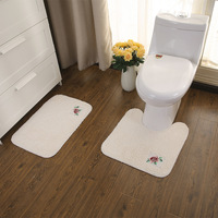 Embroidered U shape Toilet mat Cotton plush bathroom floor mat bedroom doormat Hand wash non slip 1 set Water absorption carpet
