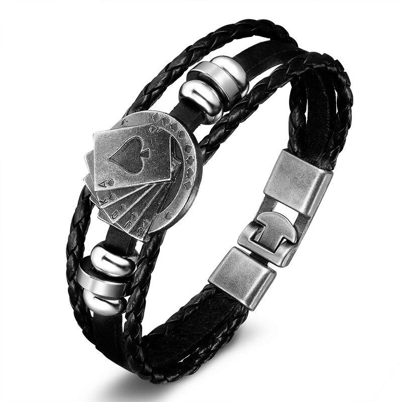 18 New Fashion 3 layer Leather Skull Bracelets&Bangles Handmade Round Rope Turn Buckle Bracelet For Women Men Charm bracelet 20