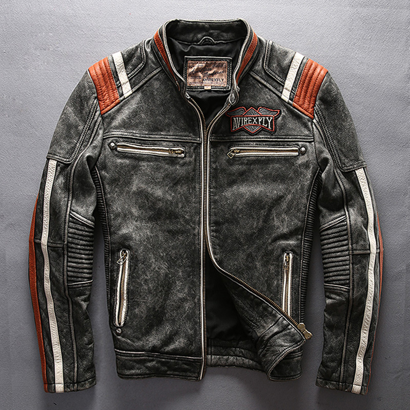 male genuine cow leather motorcycle rider jacket vintage stand collar embroidery leather motorcycle rider cowhide leather jacket мужские кожанные куртки с косой молнией