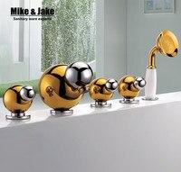 Three Handle Bathtub Mixer Shower Faucet Bath Mixer Deck Mounted Bathroom Tub Faucet 5 PCS Mixer