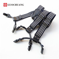 New Black White Stripe 6 Clip Suspenders Men And Women Strap Casual Fashion Models Original Leather