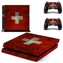 Флаг Switzerland Наклейка для PS4 наклейка для sony Playstation 4 консоль защитная пленка+ 2 шт. контроллеры
