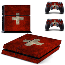 Flag of Switzerland decal PS4 Skin Sticker For Sony Playstation 4 Console +2Pcs Controllers