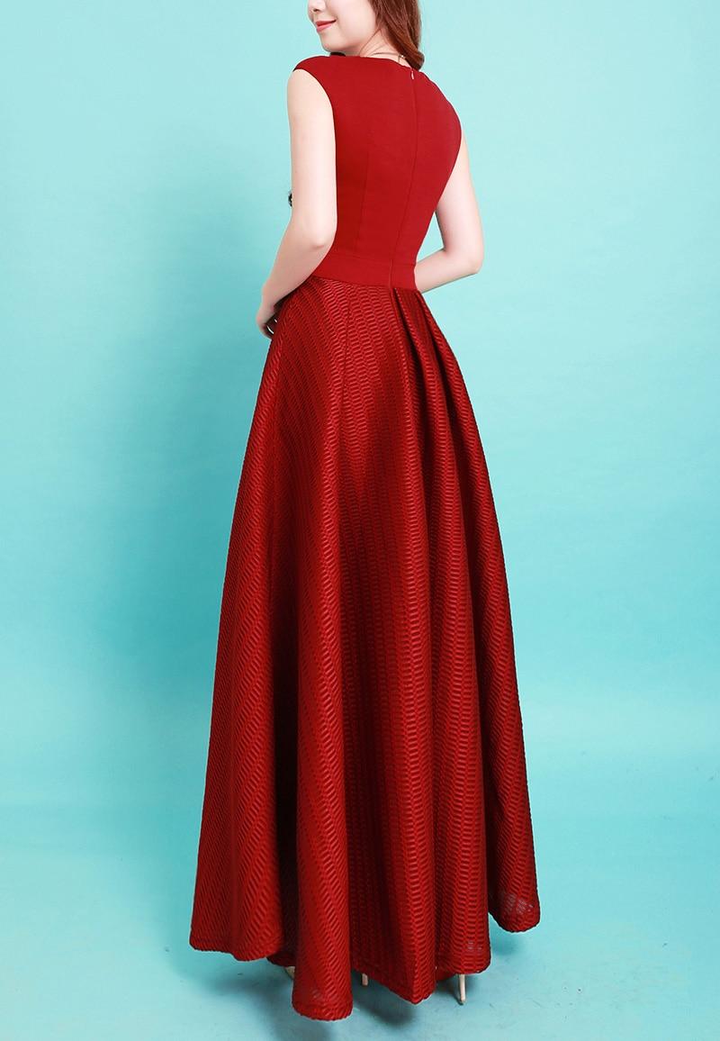 Fashion New year dress women red long party dress slim sleeveless ...