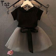 1st New arrive black girls clothes set children summer clothes