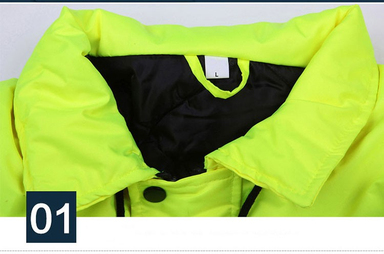 CCGK safety clothing outdoor high visibility reflective jacket waterproof rain coat  warm cotton padded work wear winter outwear (15)