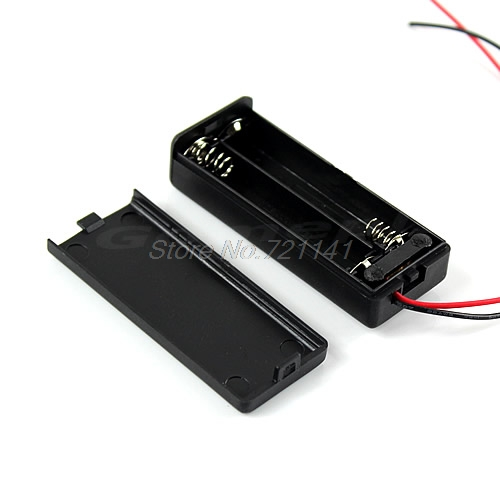 1 PC Hard Plastic Storage Holder Case Box For 2 X AAA Battery With Wire Black Electronics Stocks