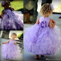Lilac Baby Party Frocks Big Bow Toddler Glitz Pageant Dresses Ankle- Length Vestidos De Daminha Hot Sale