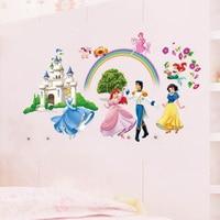 Creativo Del Fumetto di Modo Nuovo Arrivo Carta Da Parati Bella Principe Principessa Castle Wall Stickers Per Bambini Camere Formato 65*125 cm