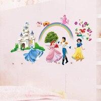 Historieta de la Manera creativa Nueva Llegada Wallpaper Precioso Princesa Príncipe Castillo Pegatinas de Pared Para Cuartos de Los Niños Tamaño 65*125 cm