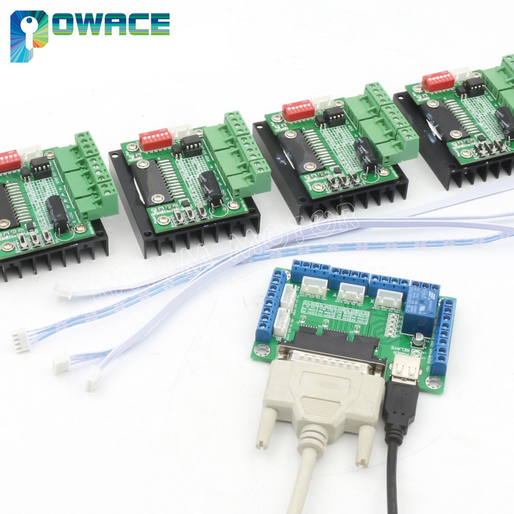 4Pcs TB6560 Single Axis Stepper Motor Driver 3.5A 16 Microstep & 5 axis CNC Breakout Board Interface V5 type Mach/EMC2/KCAM44Pcs TB6560 Single Axis Stepper Motor Driver 3.5A 16 Microstep & 5 axis CNC Breakout Board Interface V5 type Mach/EMC2/KCAM4